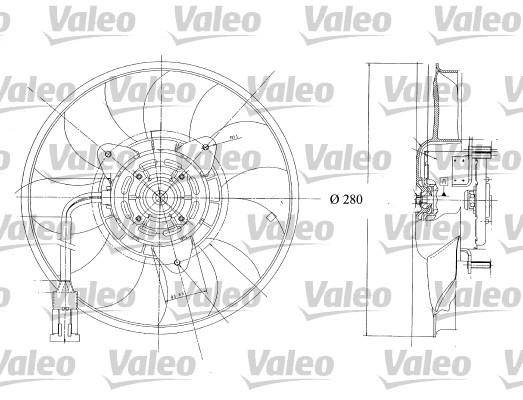 Ventilateur, refroidissement du moteur - VALEO - 698350