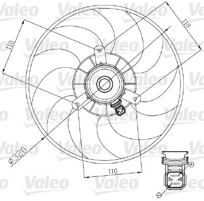 Ventilateur, refroidissement du moteur - VALEO - 698444