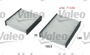 Filtre, air de l'habitacle - VALEO - 715556