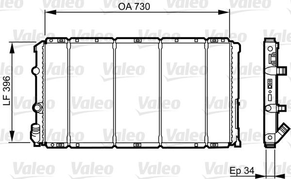Radiateur, refroidissement du moteur - VALEO - 732050