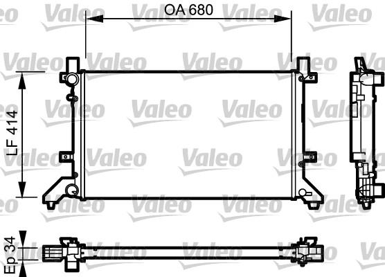 Radiateur, refroidissement du moteur - VALEO - 732952