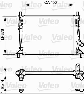 Radiateur, refroidissement du moteur - VALEO - 734319