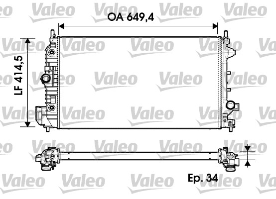Radiateur, refroidissement du moteur - VALEO - 734345