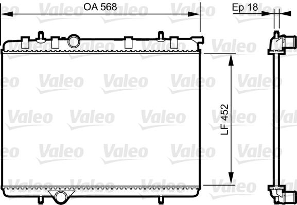 Radiateur, refroidissement du moteur - VALEO - 735090
