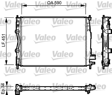 Radiateur, refroidissement du moteur - VALEO - 735114