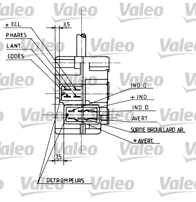 Commutateur de colonne de direction - VALEO - 251154