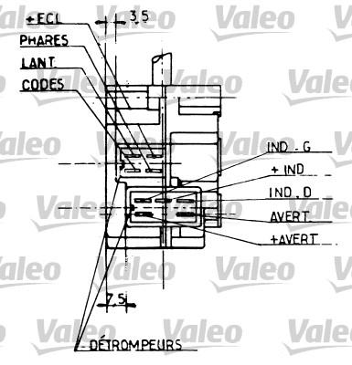 Commutateur de colonne de direction - VALEO - 251203