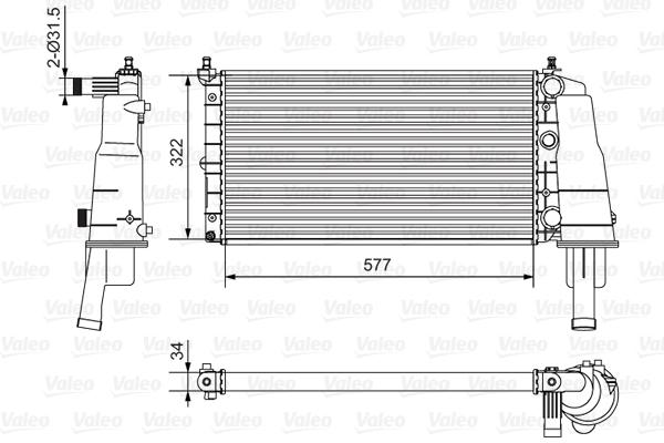Radiateur, refroidissement du moteur - VALEO - 734236