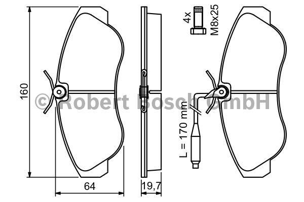 Kit de plaquettes de frein, frein à disque - BOSCH - 0 986 424 031