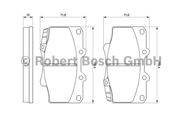 Kit de plaquettes de frein, frein à disque - BOSCH - 0 986 424 134