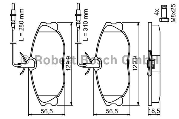 Kit de plaquettes de frein, frein à disque - BOSCH - 0 986 424 223