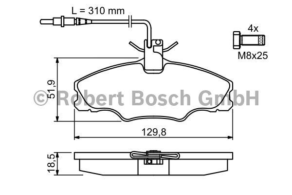 Kit de plaquettes de frein, frein à disque - BOSCH - 0 986 424 227