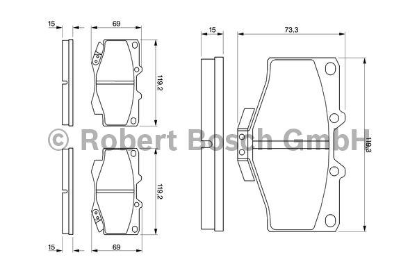 Kit de plaquettes de frein, frein à disque - BOSCH - 0 986 424 268