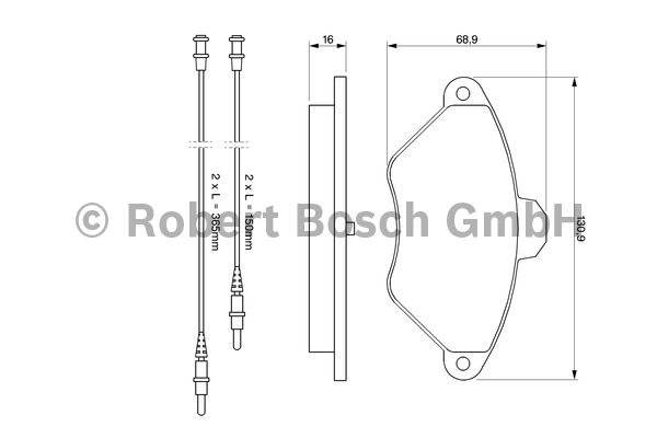 Kit de plaquettes de frein, frein à disque - BOSCH - 0 986 424 278