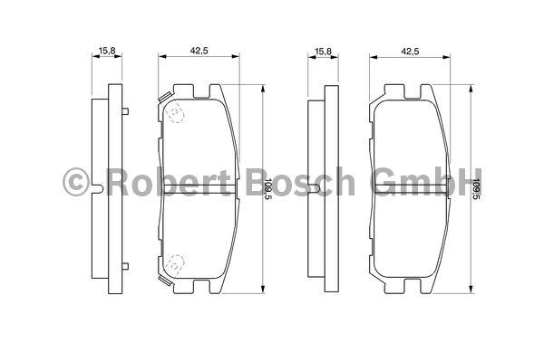 Kit de plaquettes de frein, frein à disque - BOSCH - 0 986 424 367