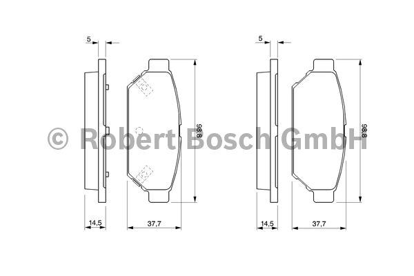 Kit de plaquettes de frein, frein à disque - BOSCH - 0 986 424 464