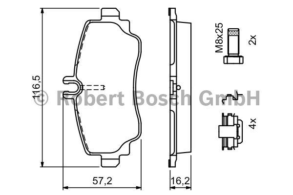 Kit de plaquettes de frein, frein à disque - BOSCH - 0 986 424 470