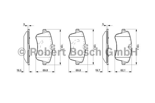 Kit de plaquettes de frein, frein à disque - BOSCH - 0 986 424 517