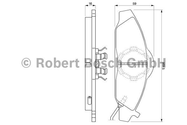 Kit de plaquettes de frein, frein à disque - BOSCH - 0 986 424 551