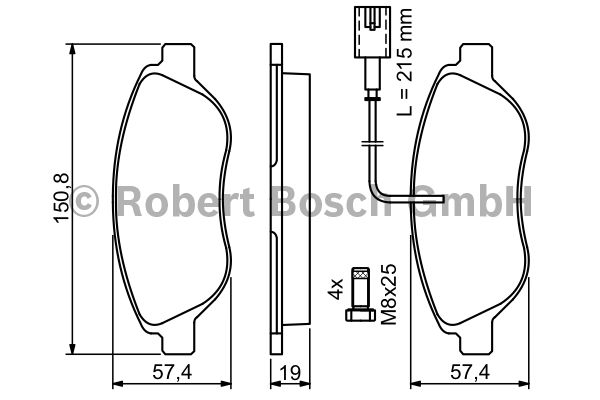 Kit de plaquettes de frein, frein à disque - BOSCH - 0 986 424 595
