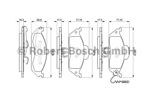 Kit de plaquettes de frein, frein à disque - BOSCH - 0 986 424 611