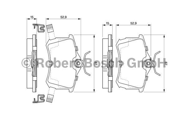 Kit de plaquettes de frein, frein à disque - BOSCH - 0 986 424 661