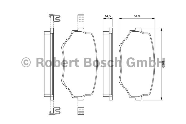 Kit de plaquettes de frein, frein à disque - BOSCH - 0 986 424 669