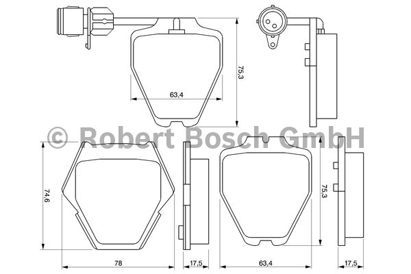 Kit de plaquettes de frein, frein à disque - BOSCH - 0 986 424 689