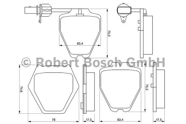 Kit de plaquettes de frein, frein à disque - BOSCH - 0 986 424 690