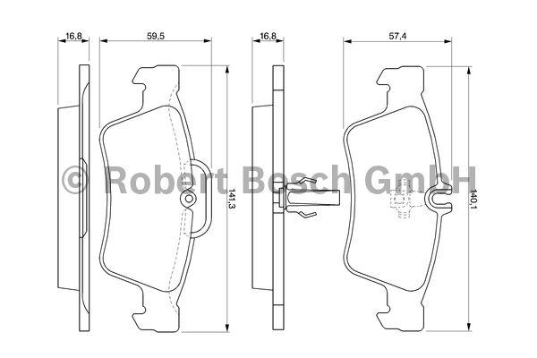 Kit de plaquettes de frein, frein à disque - BOSCH - 0 986 424 699
