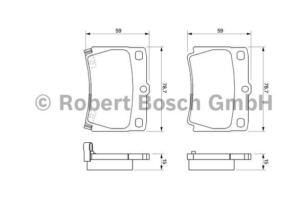 Kit de plaquettes de frein, frein à disque - BOSCH - 0 986 424 711