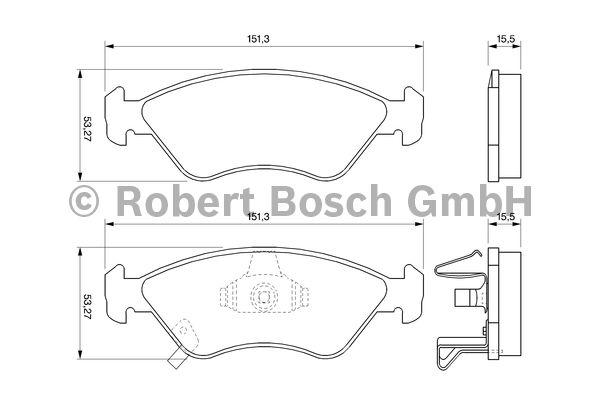 Kit de plaquettes de frein, frein à disque - BOSCH - 0 986 424 725