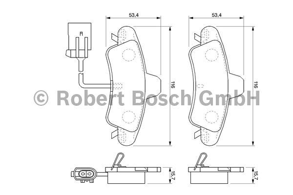 Kit de plaquettes de frein, frein à disque - BOSCH - 0 986 424 745