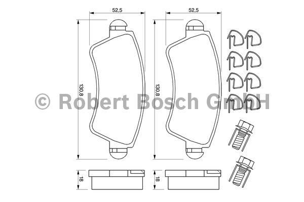 Kit de plaquettes de frein, frein à disque - BOSCH - 0 986 424 801