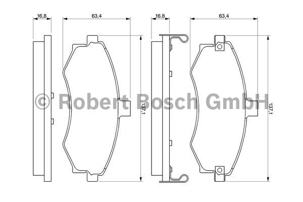 Kit de plaquettes de frein, frein à disque - BOSCH - 0 986 424 810