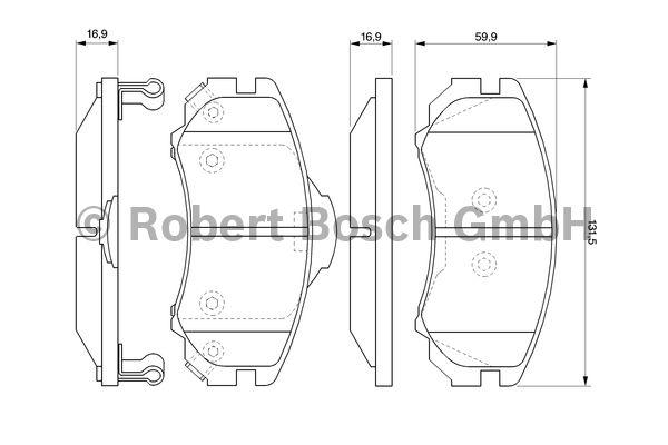 Kit de plaquettes de frein, frein à disque - BOSCH - 0 986 424 815