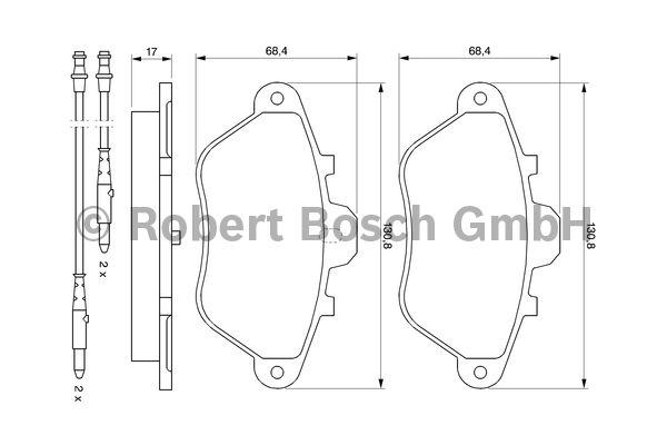 Kit de plaquettes de frein, frein à disque - BOSCH - 0 986 460 956