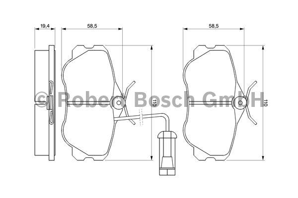 Kit de plaquettes de frein, frein à disque - BOSCH - 0 986 460 973