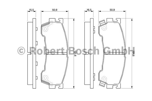 Kit de plaquettes de frein, frein à disque - BOSCH - 0 986 460 975