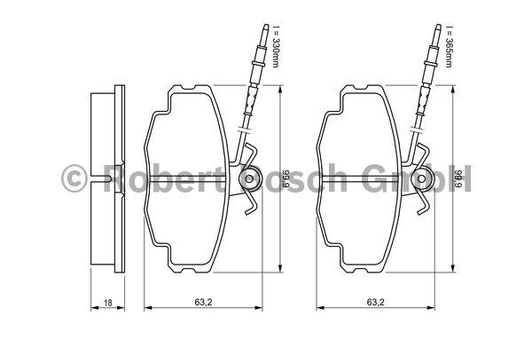Kit de plaquettes de frein, frein à disque - BOSCH - 0 986 461 117