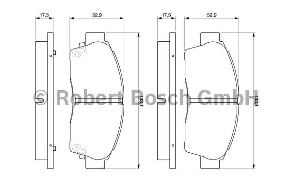 Kit de plaquettes de frein, frein à disque - BOSCH - 0 986 461 123