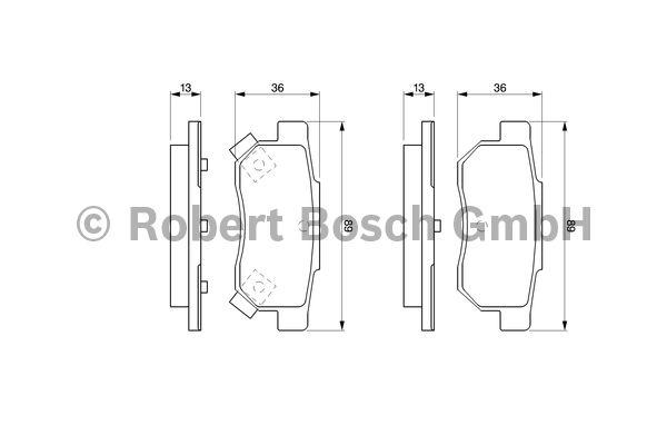 Kit de plaquettes de frein, frein à disque - BOSCH - 0 986 461 131