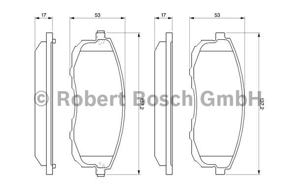 Kit de plaquettes de frein, frein à disque - BOSCH - 0 986 461 139