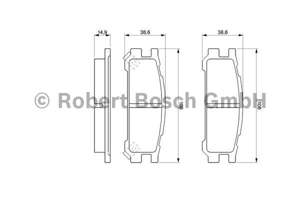 Kit de plaquettes de frein, frein à disque - BOSCH - 0 986 461 143