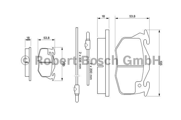 Kit de plaquettes de frein, frein à disque - BOSCH - 0 986 461 763