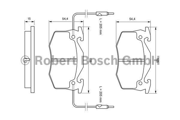 Kit de plaquettes de frein, frein à disque - BOSCH - 0 986 466 346