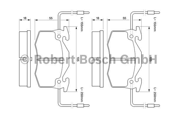 Kit de plaquettes de frein, frein à disque - BOSCH - 0 986 466 350