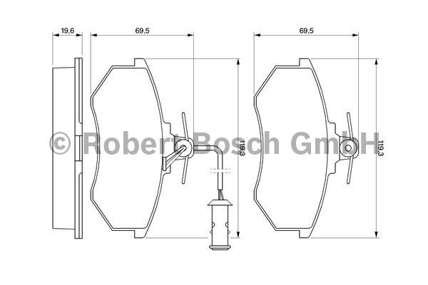 Kit de plaquettes de frein, frein à disque - BOSCH - 0 986 466 693