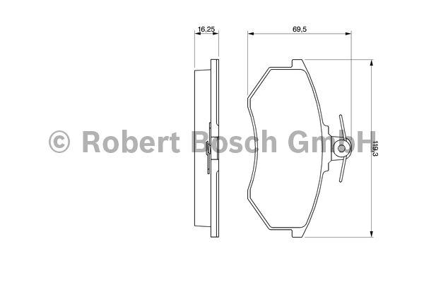 Kit de plaquettes de frein, frein à disque - BOSCH - 0 986 466 698