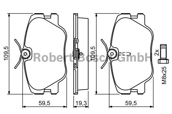 Kit de plaquettes de frein, frein à disque - BOSCH - 0 986 469 410